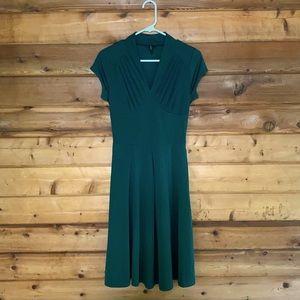 Miusol V-Neck Pleated Fit & Flare Midi Dress